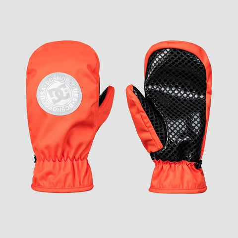 DC Shelter Snowboard Mittens Red Orange