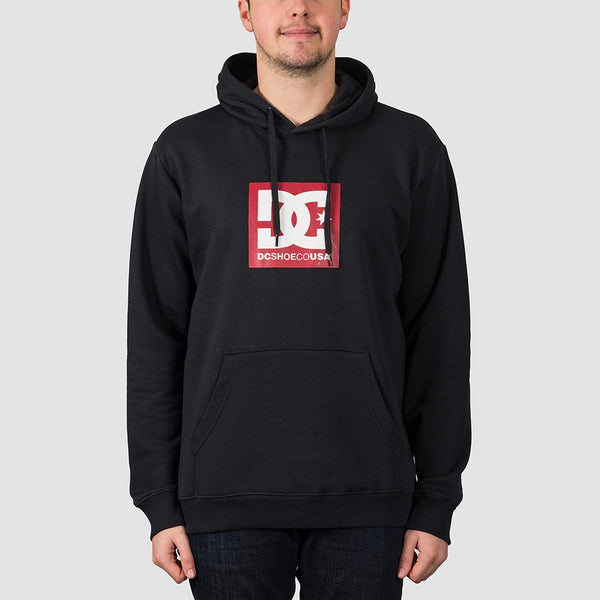 DC Square Star Pullover Hood Black/Chilli Pepper - Clothing
