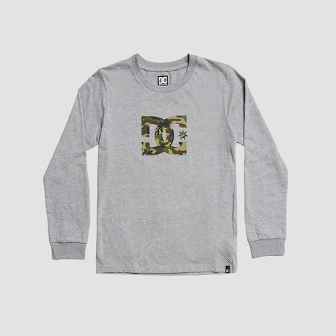 DC Star 2 Long Sleeve Tee Grey Heather/Camo - Kids