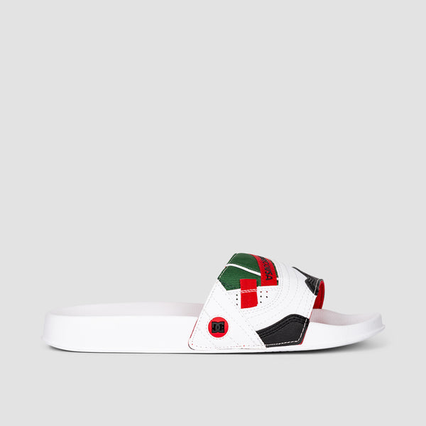 DC Williams Slide Leather Sandals White/Red