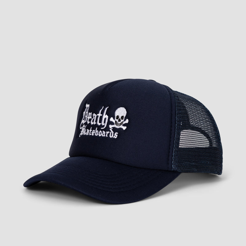 Death Old English Trucker Cap Solid Navy