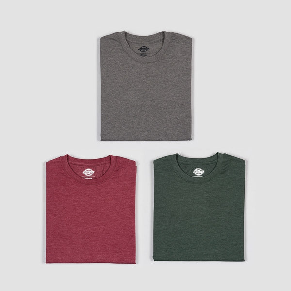 Dickies Hastings Tee 3 Pack Maroon/Hunter Green/Dark Gray Melange Assorted Colour - Clothing