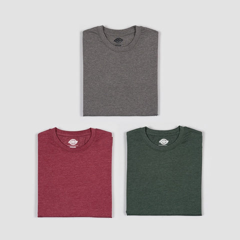 Dickies Hastings Tee 3 Pack Maroon/Hunter Green/Dark Gray Melange Assorted Colour
