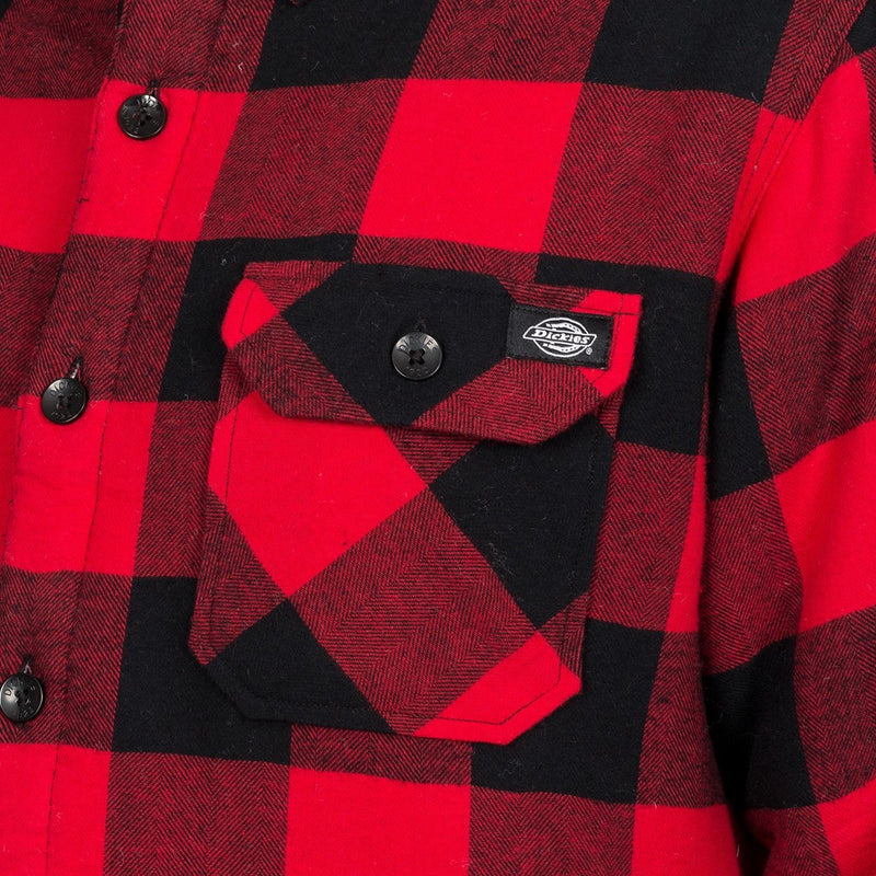 Dickies Lansdale Long Sleeve Shirt Red - Clothing