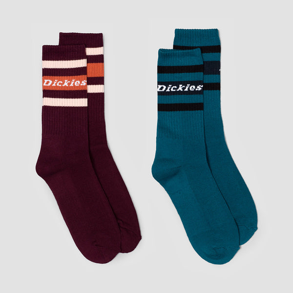 Dickies Madison Heights Socks 2 Pack Coral Blue