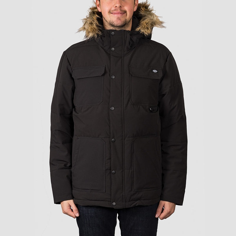 Dickies Manitou Quilted Parker Jacket Black - Clothing