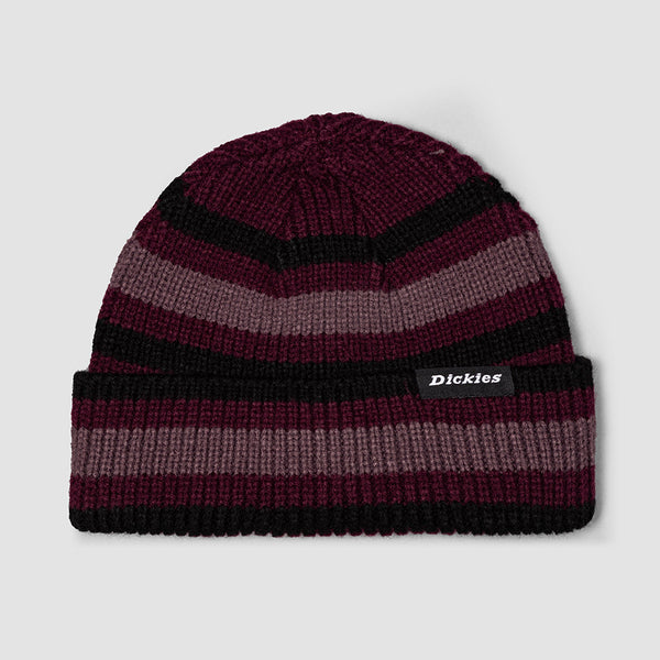 Dickies Mer Rouge Striped Beanie Maroon