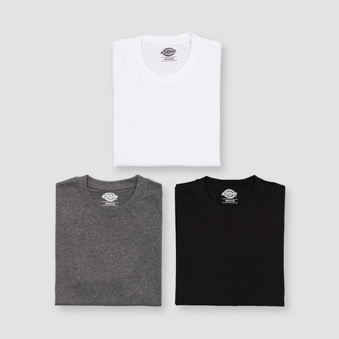 Dickies Multi-Colour Tee 3 pack White/ Dark Grey Melange/Black Colour