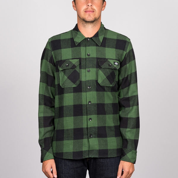 Dickies Sacramento Long Sleeve Shirt Pine Green medium - Clothing