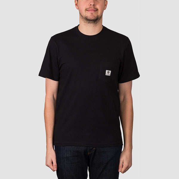 Element Basic Pocket Label Tee Flint Black - Clothing