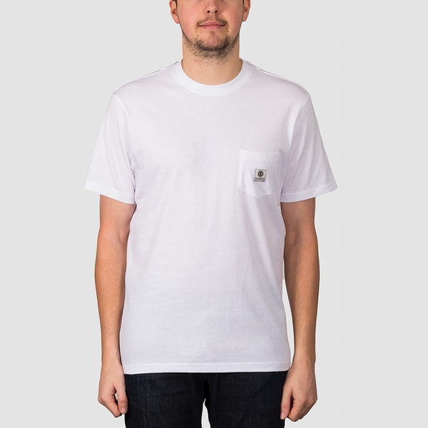 Element Basic Pocket Label Tee Optic White - Clothing