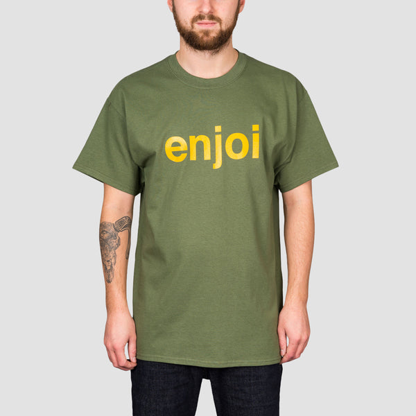 Enjoi Helvetica Logo Tee Military Green