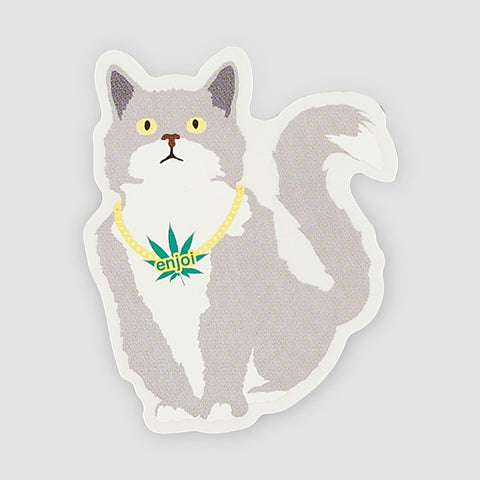 Enjoi Weed Cat Sticker Multi 100x80mm