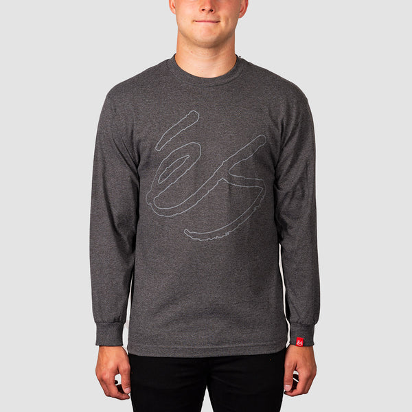 eS Script Longsleeve Tee Charcoal/Heather