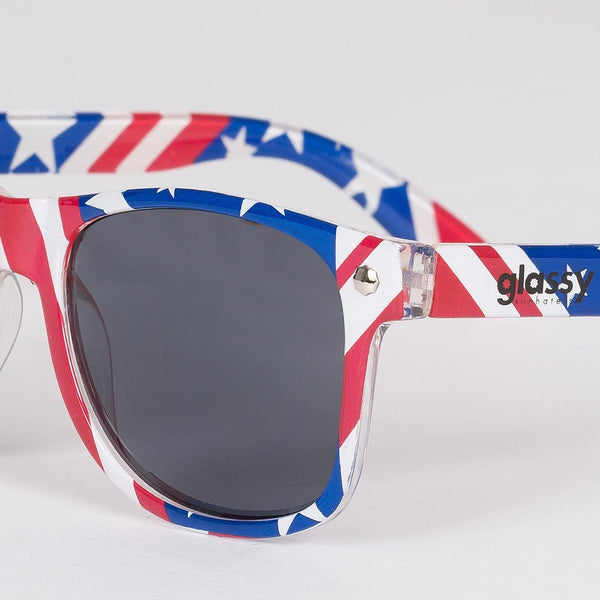 Glassy Leonard Sunhater Sunglasses Red/White/Blue Flag - Unisex - Accessories