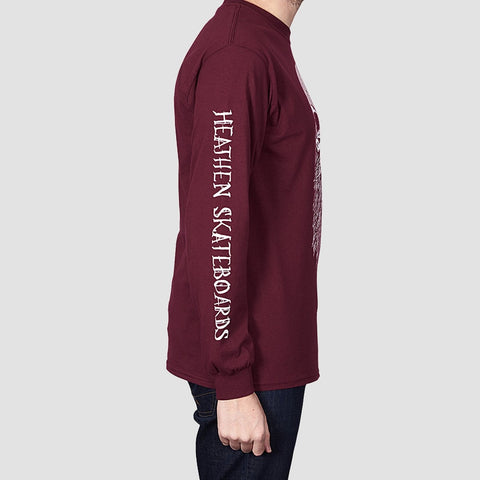 Heathen Destiny Long Sleeve Tee Maroon - Clothing