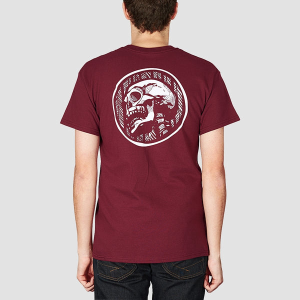 Heathen Doom Skull Tee Maroon - Clothing