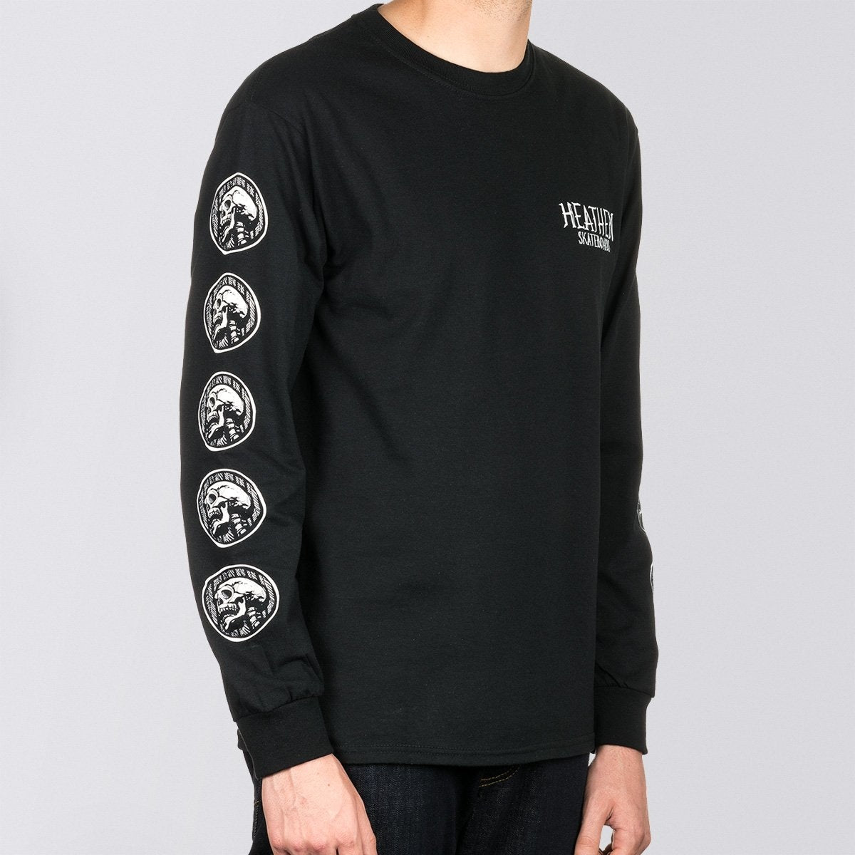 Heathen Doomsleeve Long Sleeve Tee Black/White - Clothing