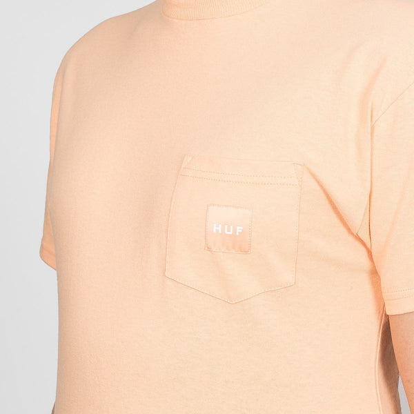 HUF Box Logo Pocket Tee Peach - Clothing