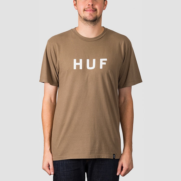 HUF Essentials OG Logo Tee Martini Olive - Clothing