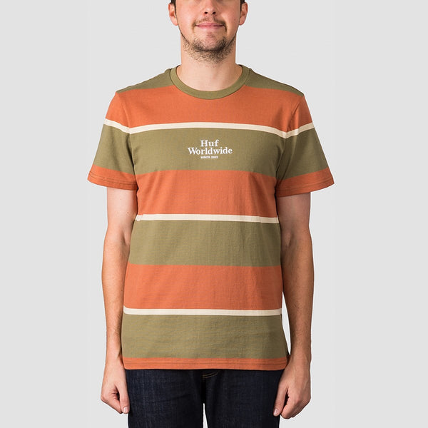 HUF Mazon Stripe Knit Tee Martini Olive - Clothing