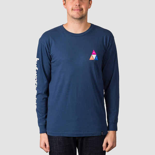 HUF Prism Triple Triangle Long Sleeve Tee Insignia Blue - Clothing