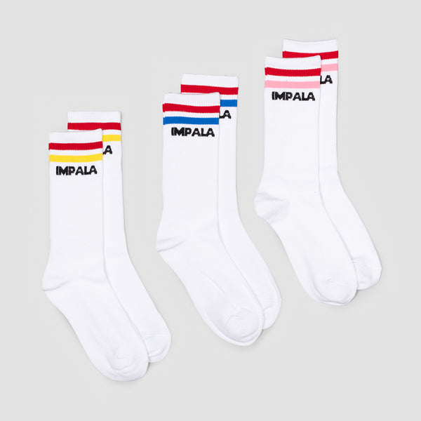 Impala Stripe Crew Socks 3 Pack White