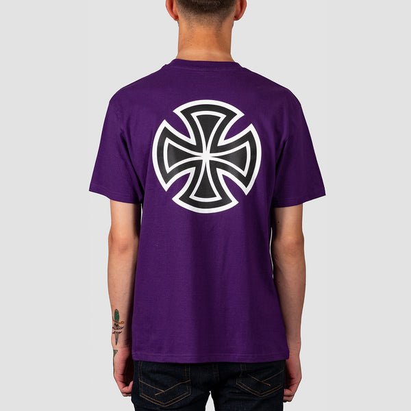 Independent Bar Cross Tee Deep Purple