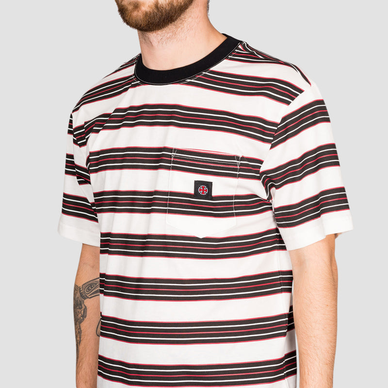 Independent Hachure Pocket Tee Off White Stripe