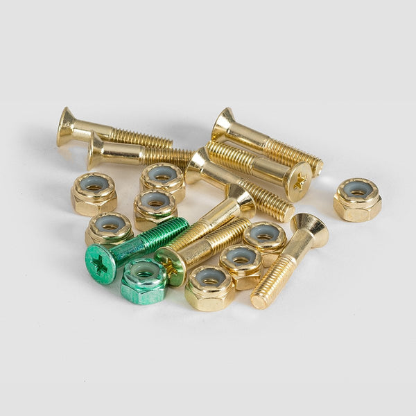 Krux Bolts x9 Krome Phillips Gold 1 Inch - Skateboard