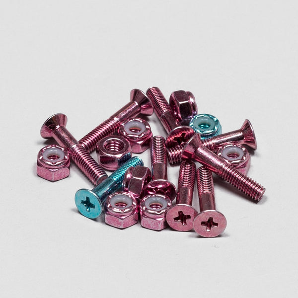 Krux Bolts x9 Krome Phillips Pink 1 Inch - Skateboard