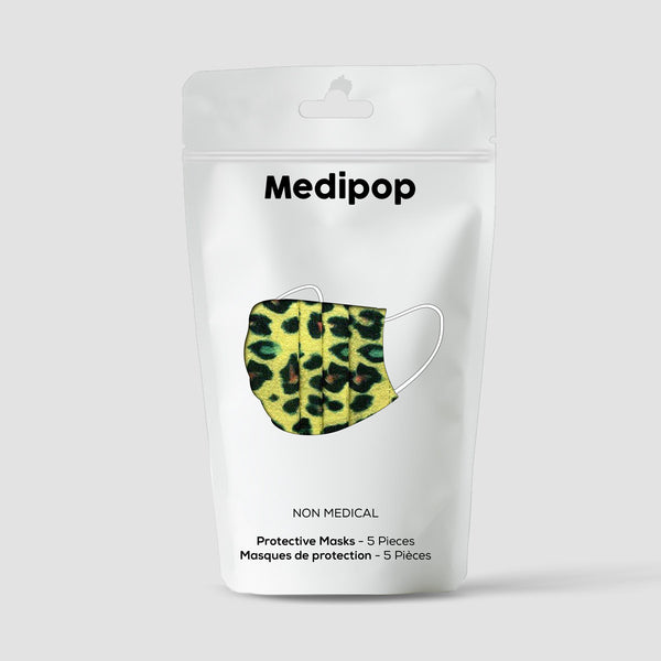 Medipop D Mask Desposable 5 Pack Yellow Leopard