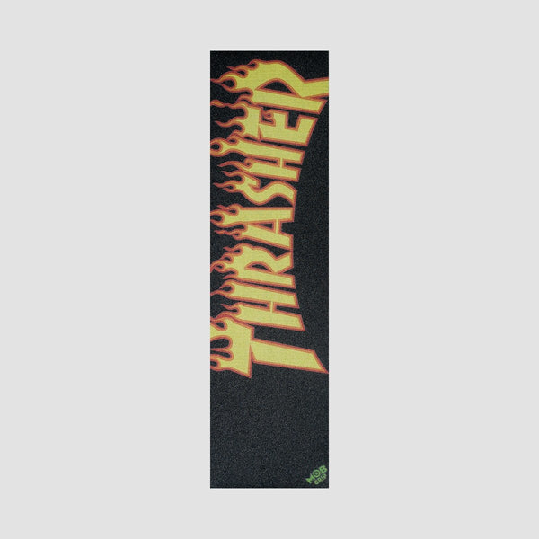 MOB Thrasher Yellow Orange Flame Grip Tape - 9 - Skateboard