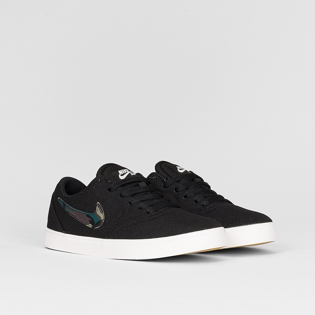 Nike SB Check Canvas Black/Medium Olive/Pro Green - Kids - Footwear