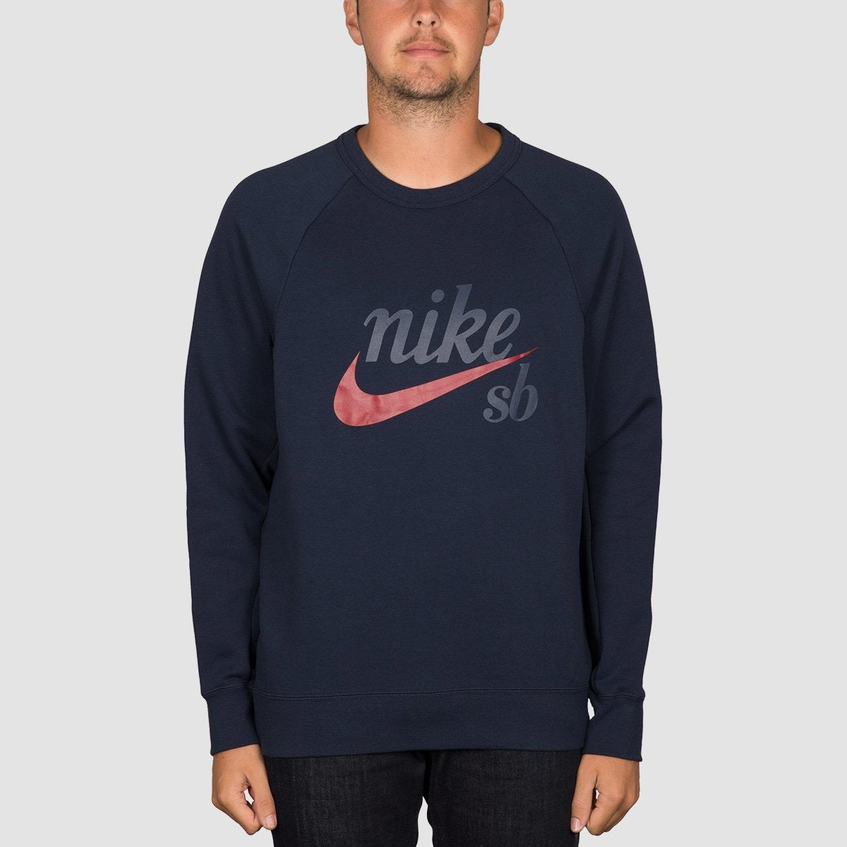 Nike SB Heritage Icon Crew Sweat Obsidian/Red Crush - Clothing
