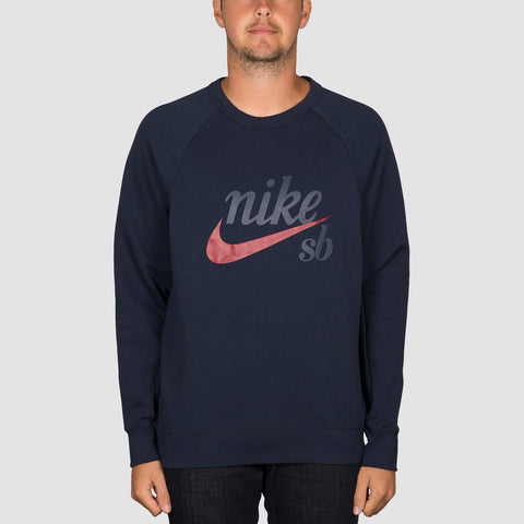 Nike SB Heritage Icon Crew Sweat Obsidian/Red Crush