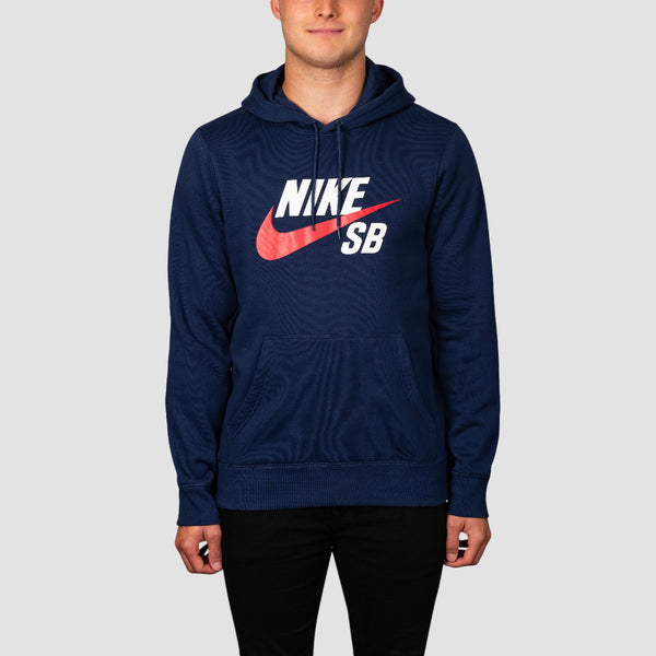 Nike SB Icon Pullover Hood Midnight Navy/University Red