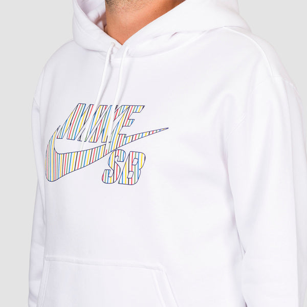 Nike SB Striped Pullover Hood White