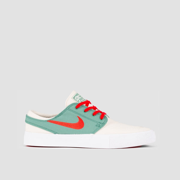 Nike SB Zoom Janoski Canvas RM Pale Ivory/Atom Red/Evergreen/White - Unisex L - Footwear
