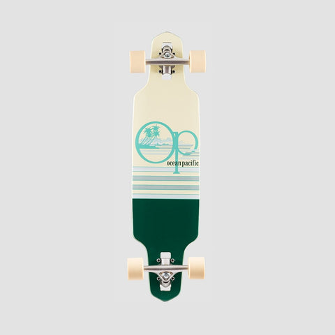 Ocean Pacific Offshore 2 Mini Drop Through Longboard Off White/Forest Green - 31.5""