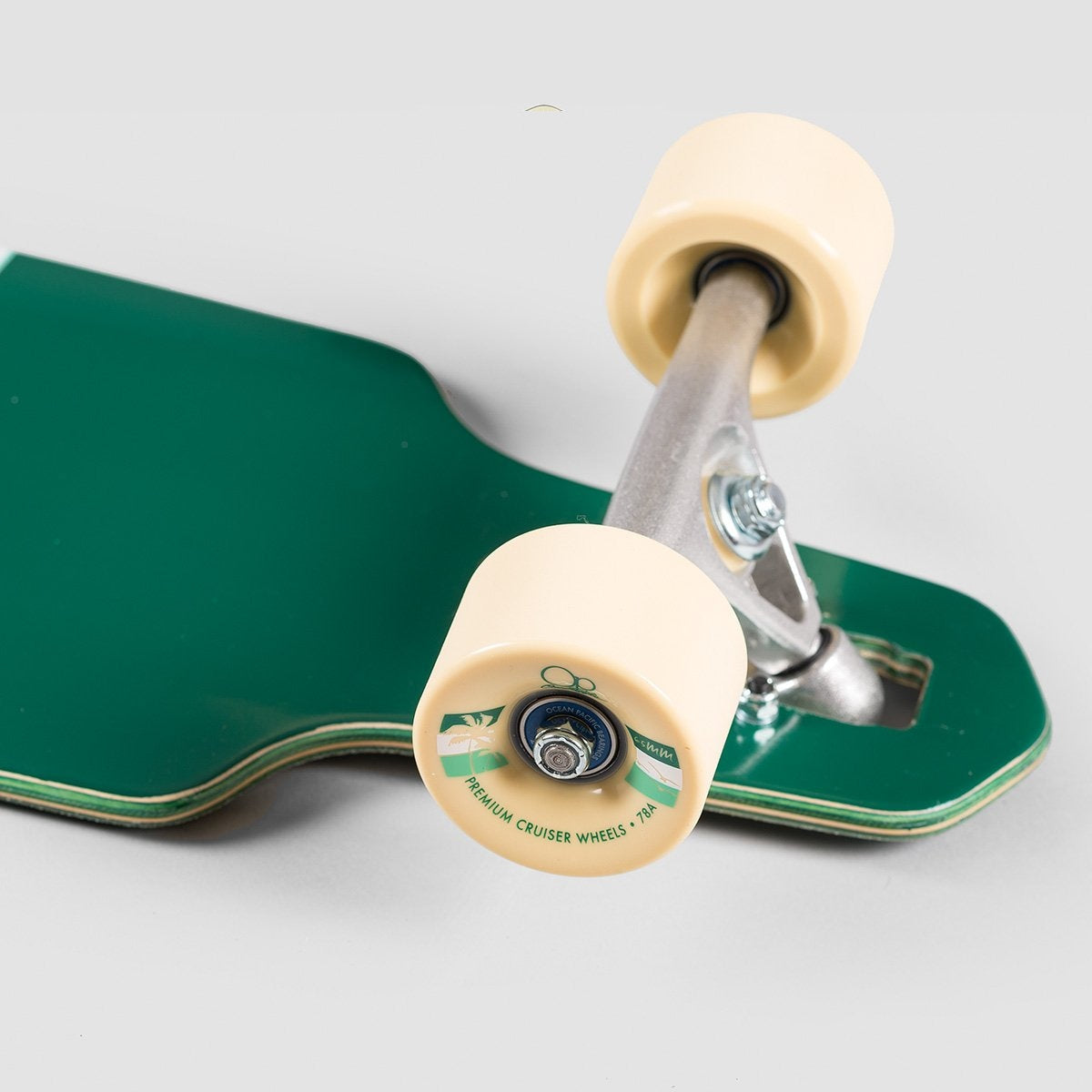 Ocean Pacific Offshore 2 Mini Drop Through Longboard Off White/Forest Green - 31.5 - Skateboard