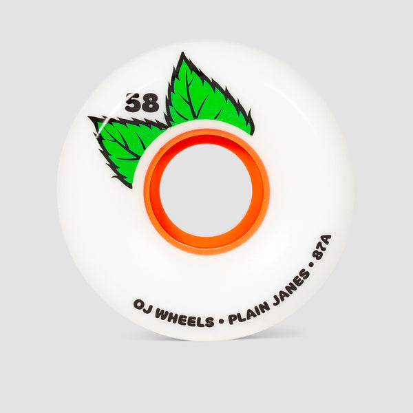 OJ Plain Jane Keyframe 87a Soft Wheels White 58mm