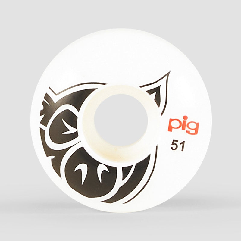 Pig Head Logo Natural Wheels White 51mm - Skateboard