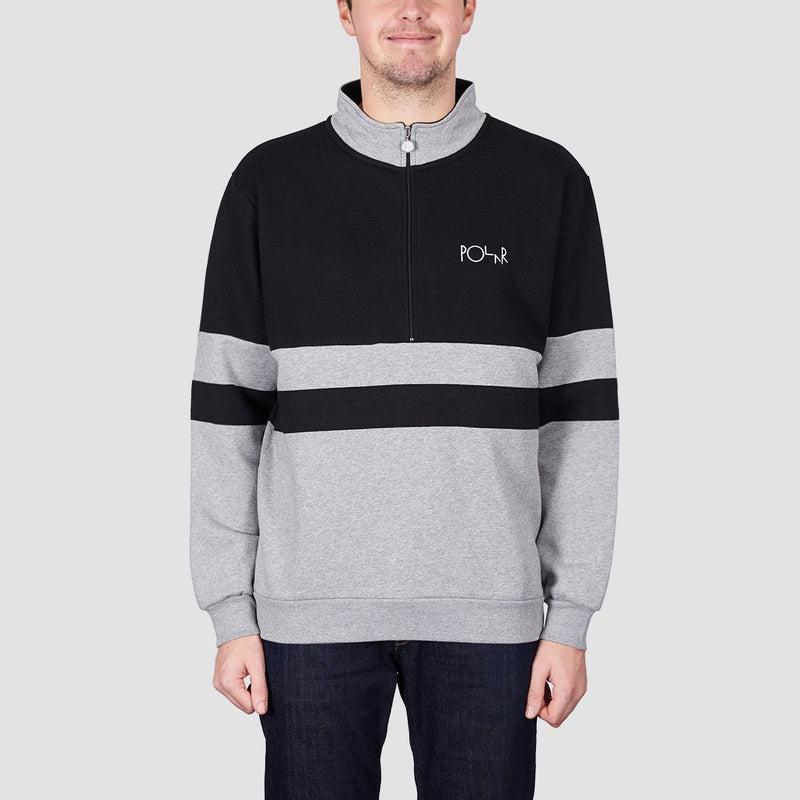 Polar Block Half Zip Crew Sweat Black/Heather Grey - Clothing