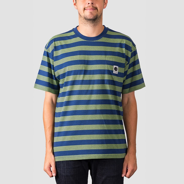Polar Stripe Pocket Tee Dark Blue/Lime - Clothing