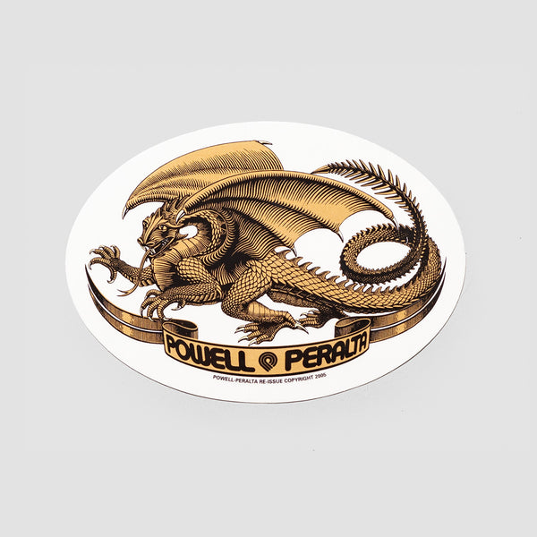 Powell Peralta Oval Dragon Sticker Gold 125x90mm