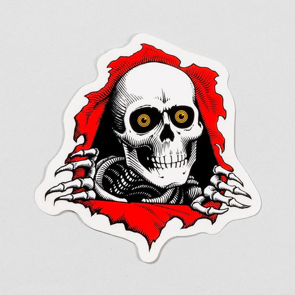 Powell Peralta Ripper Sticker White/Red 75mm x 75mm - Skateboard