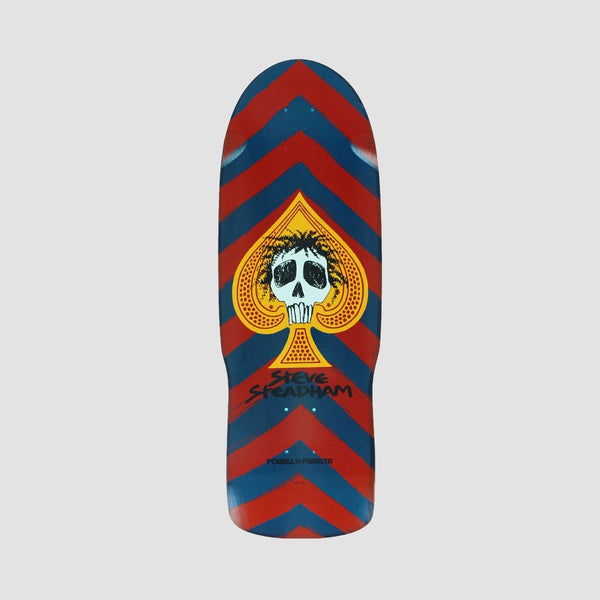Powell Peralta Steadham Skull & Spade Reissue Deck Red/Blue - 10 - Skateboard