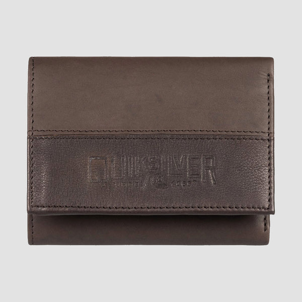 Quiksilver Bonzo Cruella Leather Tri-Fold Wallet Chocolate Brown