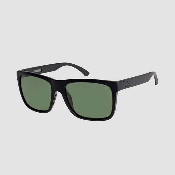 Quiksilver Charger Premium Sunglasses Matte Black/Mineral Glass Green Polarised